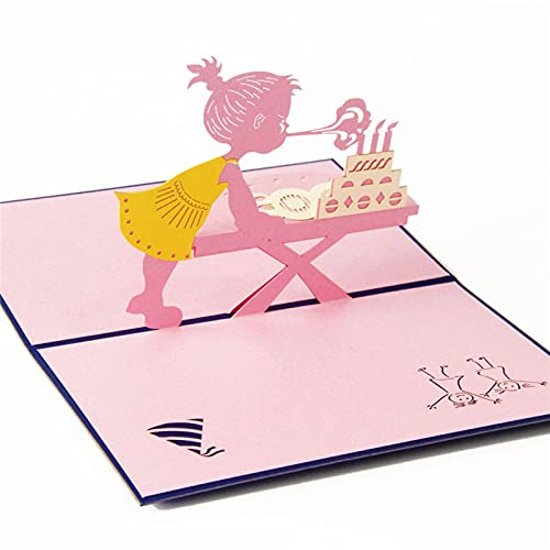 3 Pcs 3D Laser Cut Handmade Birthday Party Blow Out Candle Girl Paper Invitation Greeting Cards PostCard Kids Festival Creative Gift