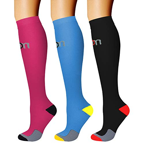 CHARMKING Compression Socks (3 Pairs) 15-20 mmHg is Best Athletic for Women & Men, Running, Flight Travel, Crossfit, Cycling, Pregnant - Boost Performance, Flexibility, Durability (L/XL,Multi 09)