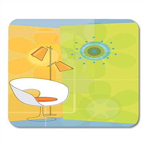 Mouse Pad with Non-Slip Rubber Base Furniture Starburst Retro Modern 1950S 50S Chair Chic Clock Kitsch Gaming Mousepad for Computer Notebook Laptop PC, 7.1x8.7 inches