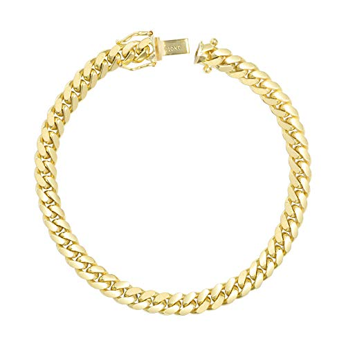 Nuragold 10k Yellow Gold 6mm Solid Miami Cuban Link Chain Bracelet, Mens Jewelry Box Clasp 7' 7.5' 8' 8.5' 9'