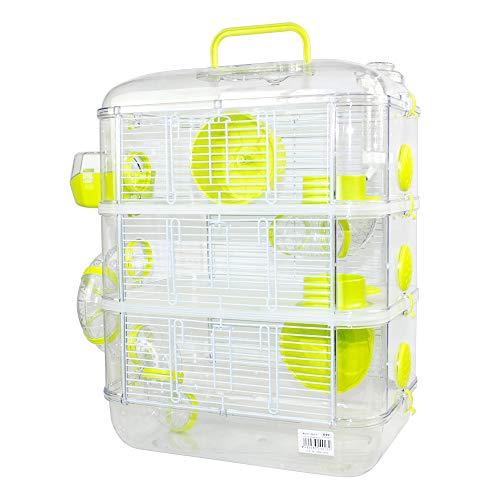 Jaulas para Hamster de plástico Duro, Jaula de Hamster XL 3 Pisos Hamster caseta Bebedero comedero Rueda Todo Incluido 40 * 26 * 53cm (3 Piso, Verde)