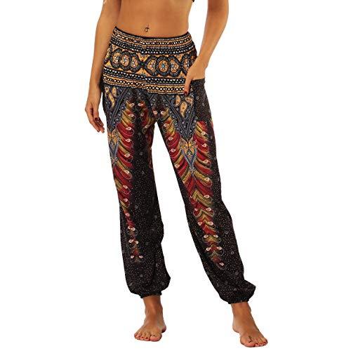 dilake Pantalon de Yoga Boho, Sarouel Pantalon de Plage décontracté Hippie Flowy, Taille Haute