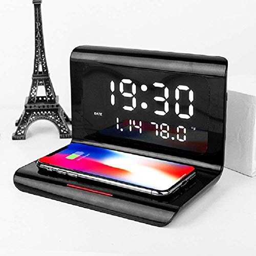 LJXiioo Reloj Despertador Digital con Carga inalámbrica y Pantalla LED de Calendario de Temperatura de Tiempo, Base de Carga inalámbrica Qi de 10 W,B