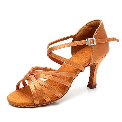 RoseMoli Women's Latin Dance Shoes Satin Professional Ballroom Salsa Practice Performance Dance ShoesTan-2.8inch 8