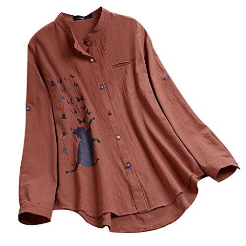 Amazing Deal Cotton Linen Shirts for Women, F_Gotal Women's Stand Collar Long Sleeve Casual Loose He...