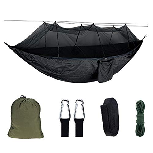 Camping Hammock Hamaca Acampar,Hamacas Portátiles Paracaídas,con 2 Correas de Árboles Mosquito Net Hammock Tienda,para Mochileros de Viaje Playa Patio Senderismo,Dark Gray