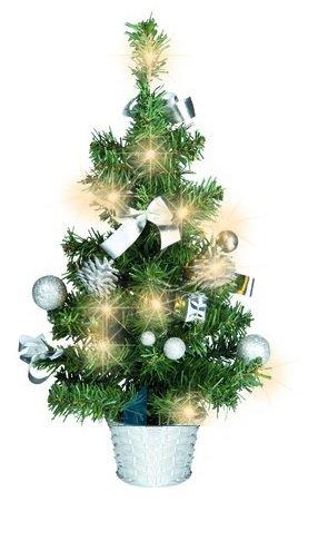 Künstlicher Tannenbaum Weihnachtsbaum 45cm mit LED Lichterkette Beleuchtung und Baumschmuck Weihnachtskugeln 20 Lichter Baum geschmückt mit Zapfen Kugeln Schleifen (Baumschmuck silber)