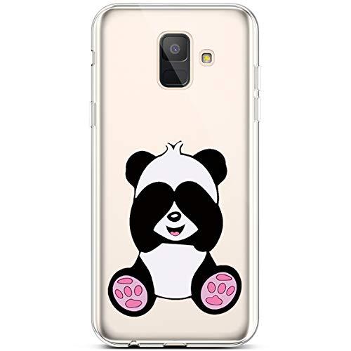 Jinghuash Kompatibel mit Samsung Galaxy A6 2018 Hülle Transparent TPU Silikon mit Muster Ultra Dünn Durchsichtig TPU Stoßfest Bumper Handyhülle Schutzhülle Tasche Case-Großer Panda