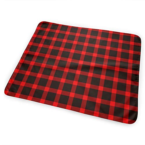 Classic Buffalo Plaid Black And Red Bed Pad Washable Waterproof Urine Pads for Baby Toddler Children and Adults 31.5 X 25.5 inch