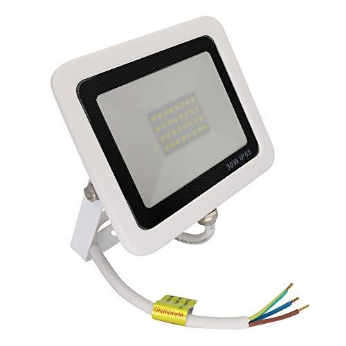 Popp PACK 2 Floodlight Led Foco Proyector Led para Exterior Iluminación Decoración 6000k luz fria Impermeable IP65 blanco con cristal opal y Resistente al agua. (30)