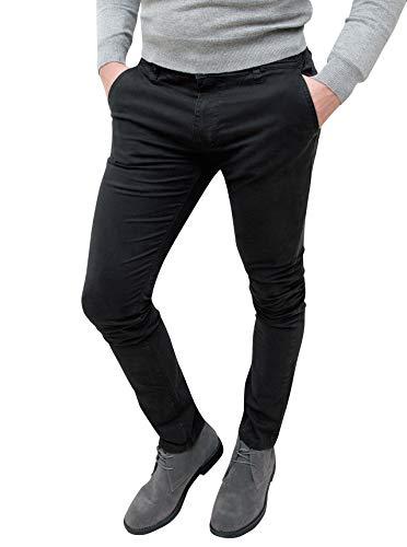 Evoga Pantaloni Casual Uomo Invernali Slim Fit (46, Nero)
