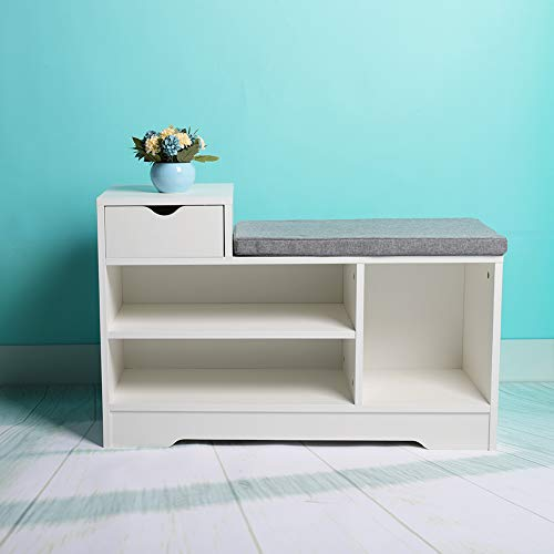 Shoe Rack Bench Storage 2 Tier 1 Drawer 52.4 x 30 x 80 cm?White Shoe Cabinet with Seat and Grey Cushion Hallway Bedroom Living room Furniture