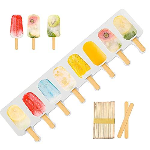 Molde de silicona para helado de MOTZU con 50 palos de madera, ovalado clásico, antiadherente (ovalado clásico)