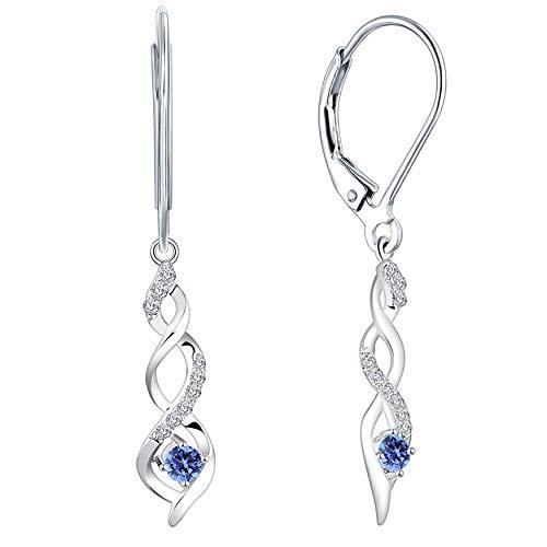 JO WISDOM Damen hängende ohrringe Unendlichkeit infinity silber 925 mit AAA Zirkonia Kristall (Dezember, tansanitische Farbe)