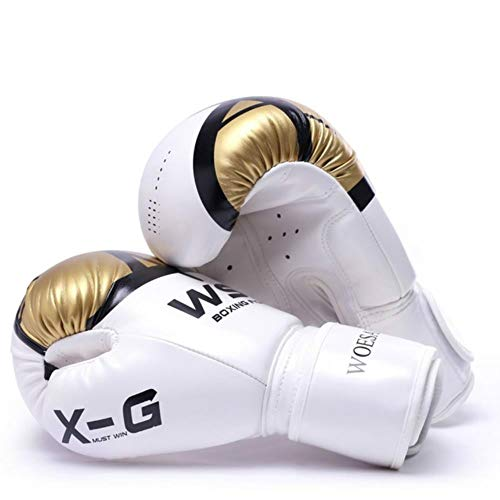 UKKO Boxhandschuhe Kick Boxhandschuhe Für Männer Frauen Pu-Karate Muay Thai Free Fight MMA Sanda Training Erwachsene Kinder Zubehör,Gold,10 oz