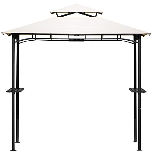 ten-tatent Grill Gazebo Double Tiered Outdoor BBQ Gazebo Canopy 99.6 x 99.6 x 59.4 inch