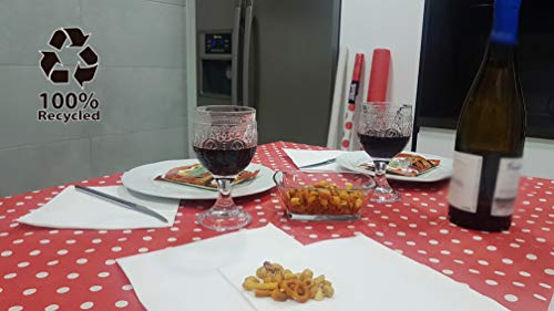 bissu - Mantel DE Papel Damascado Desechable Antimanchas para Mesas de Comedor y Cocina Rectangulares de Colores | Rollo de 25 x 1.18 Metros. (Lunares Rojo) -Biodegradable