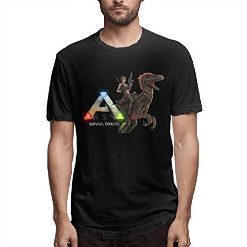 Men's Casual Ark Survival Evolved Tee T Shirt Short Sleeve O-Neck Cotton T-Shirt Sports Tops Plus Size Tshirt Black Large