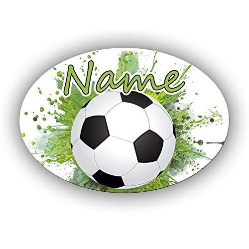 Fußball Türschild mit Name und Schriftartwahl/Kunststoff Oval 12,7 x 8,8 x 0,2 cm mit 2 Bohrungen