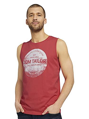 TOM TAILOR Herren 1025981 Print Tanktop, 11042-Plain Red, XL