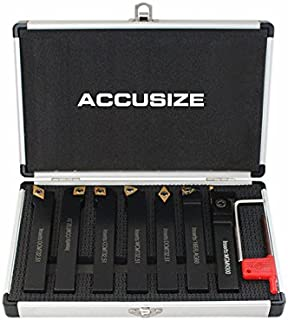 Accusize Industrial Tools 5/8'' Shank 7 Pc Indexable Carbide Turning Tool Set in Fitted Box, 2387-2005