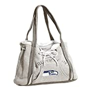 """Officially licensed NFL, NHL, NCAA purse features full-color embroidered team logo This unique purse looks like a miniature hoodie sweatshirt turned into a bag This cotton poly blend bag measures 9.5"""" tall x 15.5"""" wide x 4"""" deep Features fully lined ..."""