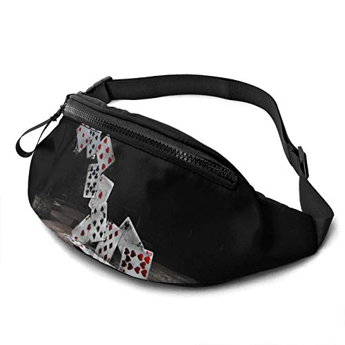 Abstract Castle of Cards Poker Riñonera Casual,Fanny Pack Hip Bum Bag Belt Bag For Mujeres Hombres al Aire Libre Workout Traveling Hiking Running Cycling