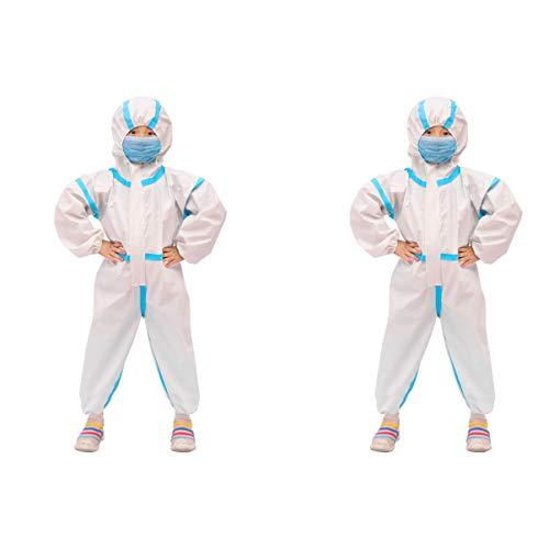 Artibetter Chemikalienbeständiger Einwegoverall mit Kapuze Elastischer Schutzanzug Sicherheitsarbeitskleider für Kinder - Größe 90 (Für Kinder von 85-100 cm)