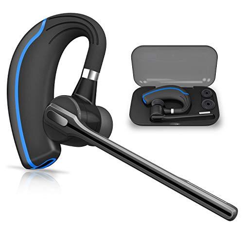 Bluetooth Headset HONSHOOP Bluetooth 5.0 Noise Reduction Bluetooth Earpiece in Ear Wireless Headphones Mic Earphones Business/Workout/Driving Blue