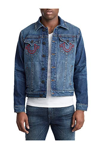 True Religion Men's X Manchester United Western Stretch Denim Trucker Jacket in Indigo (X-Large)