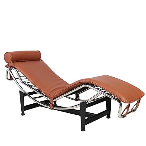 WLOWS Sillón reclinable de Cuero Genuino, sillón clásico de Mediados de Siglo Le Corbusier Estilo sillón de réplica Chaise para Dormitorio, Sala de Estar