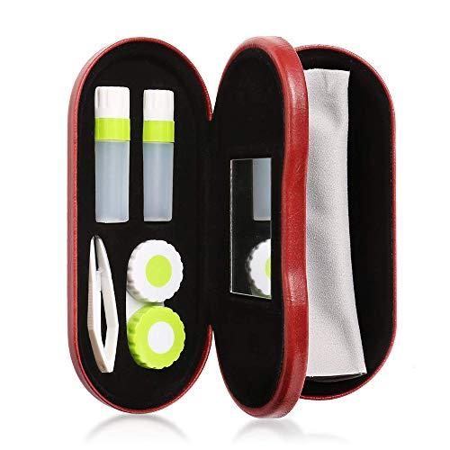 RYN Estuche Gafas Y Lentillas 2 En 1 Estuche para Lentes De Contacto De Viaje/Incluye Pinzas Y Aplicador