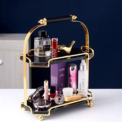 MYHZH Bandeja de mármol joyería, con Asas de Oro de Metal Pulido, para Vela Perfume Jabón Champú...
