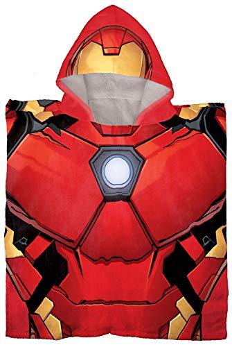 Jay Franco Marvel Avengers Iron Man - Poncho con capucha para baño/piscina/playa - Toalla de algodón supersuave y absorbente, medidas 60 x 28 cm (producto oficial de Marvel)