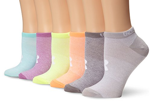 Under Armour Women's Essential No Show Socks, 6-Pairs, Marl/Assorted Colors, Shoe Size: Womens 6-9