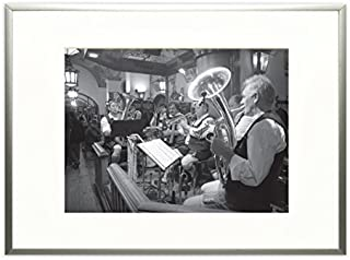 Golden State Art, Metal Wall Photo Frame Collection, Aluminum Silver Photo Frame with Real Glass (11x14)