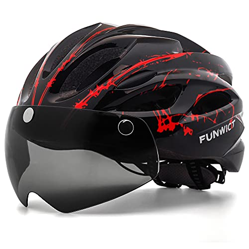 FUNWICT Casco Bici con Occhiali Magnetici LED Luce Casco da Mountain Bike Casco Bici da Strada per Adulto Uomo Donna Casco MTB Leggera 57-61 cm (BKInkRed)