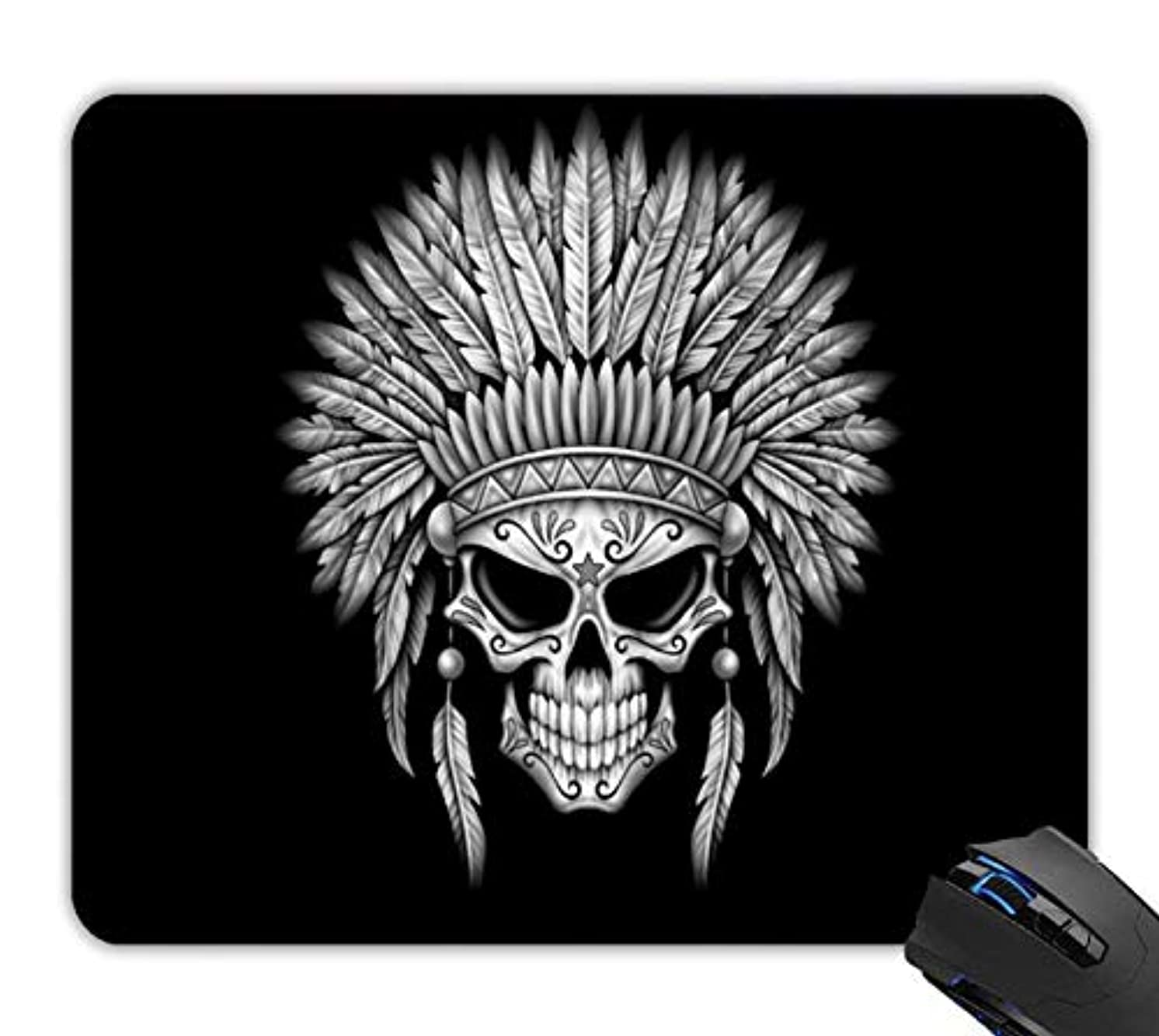 OTTIET Custom Dark Native Sugar Skull with Headdress Gaming Mouse Pad 9.5 X 7.9 Inch (240mmX200mmX2mm).Non-Slip Thick Rubber Large Mousepad