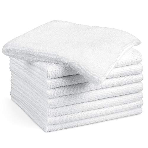 AIDEA Microfiber Cleaning Cloths White-8PK, Strong Water Absorption, Lint-Free, Scratch-Free, Streak-Free, Dish Towels White (11.5in.x11.5in.)