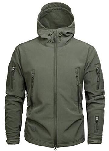SZAWSL Veste militaire imperméable en softshell pour homme avec doublure en polaire, Camouflage, Veste tactique,L,Vert armée