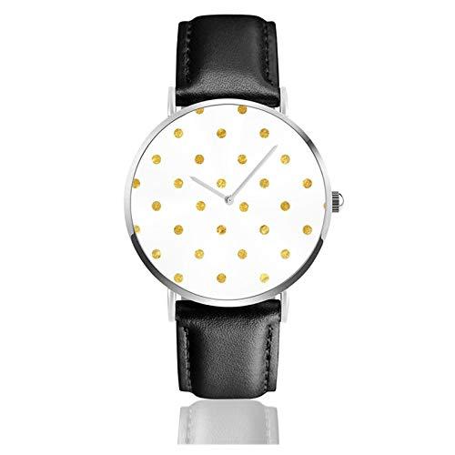 Reloj de cuero de oro con lunares y puntos, unisex, clásico, casual, de moda, reloj de cuarzo de acero inoxidable con correa de cuero