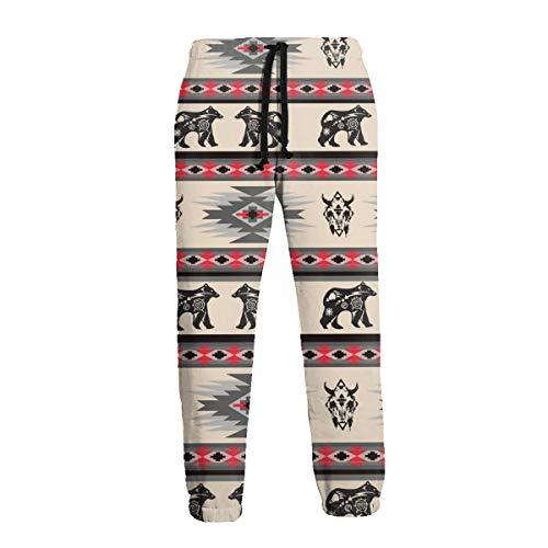 American Native Bear Buffalo Stripe Pantalon de Sport pour Homme - Noir - 31-35