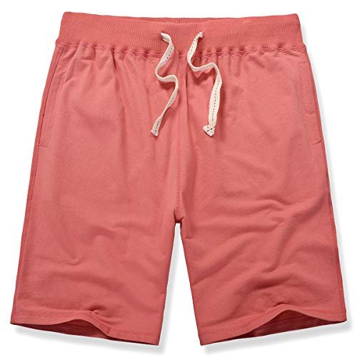 Amy Coulee Men Casual Basketball Cotton Jersey Elastic Sweat Shorts (L, Watermelon red)