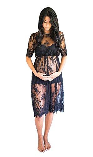 Unbekannt Schwangerschaftskleid, Häkelkleid, Fotografie Schwangerschaft, Kleid, Spitze (Schwarz) -