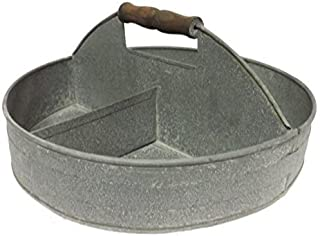 Colonial Tin Works FBA_810253T Divided Stainless Steel Serving Party Tray with Wood Handle for Snacks and Candy, one size, Silver
