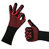 Extreme Heat Resistant Gloves, Ideal Welding gloves (TIG, MIG, ARC, STICK), Perfect BBQ gloves for cooking in Grill and Oven YXF99 (Color : Black+red)