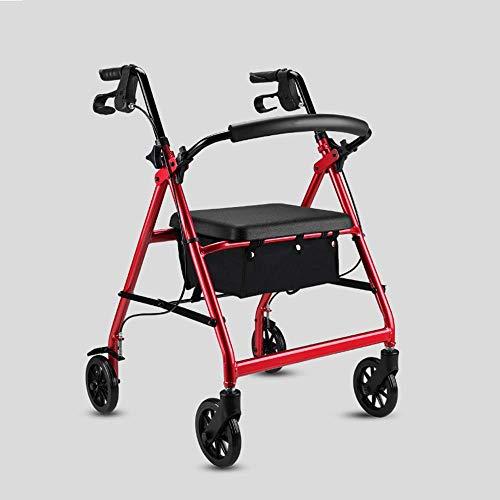 XYL Rollator Pesado bariátrico, con Ruedas de 6 Pulgadas, Aluminio Plegado Andador con Ruedas, Bloqueo de Freno de Mano, Manija Ajustable 🔥