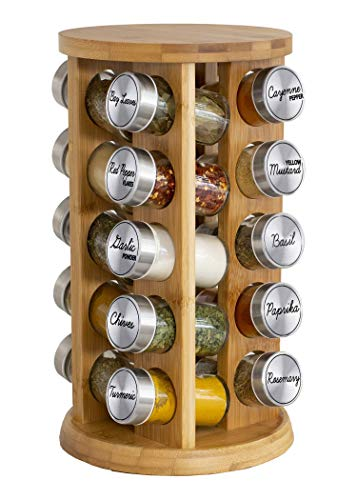 Orii Bamboo Rotating 20 Jar Spice Rack Filled with Spices - Rotating Standing Rack Shelf Holder Countertop Spice Rack Tower Organizer for Kitchen Spices Free Spice Refills for 5 Years