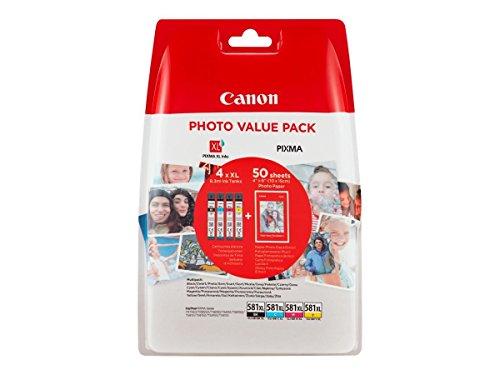 Canon CLI-581XL Cartouches BK/C/M/Y Noir, Cyan, Magenta, Jaune + Pack de 50 feuilles papier photo PP-201 10x15cm (Emballage plastique)