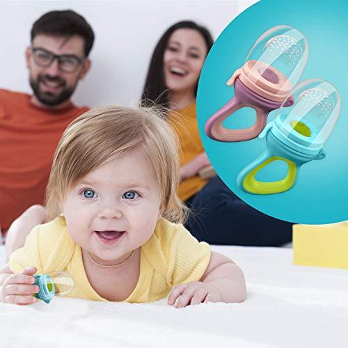2 Fruchtsauger Baby + 1 Baybylöffel für Baby ab 3 Monate & Kleinkind + Zertifikat + 6 Silikon-Sauger in 3 Größen – BPA-frei – Schnuller Beißring für Obst Gemüse Brei Beikost + Gratis Ebook - 6